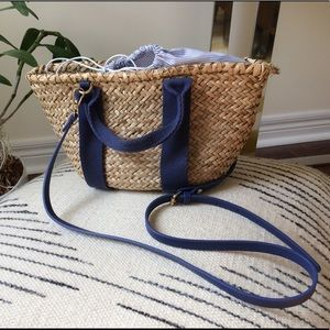 Zara straw bag with fabric closure
